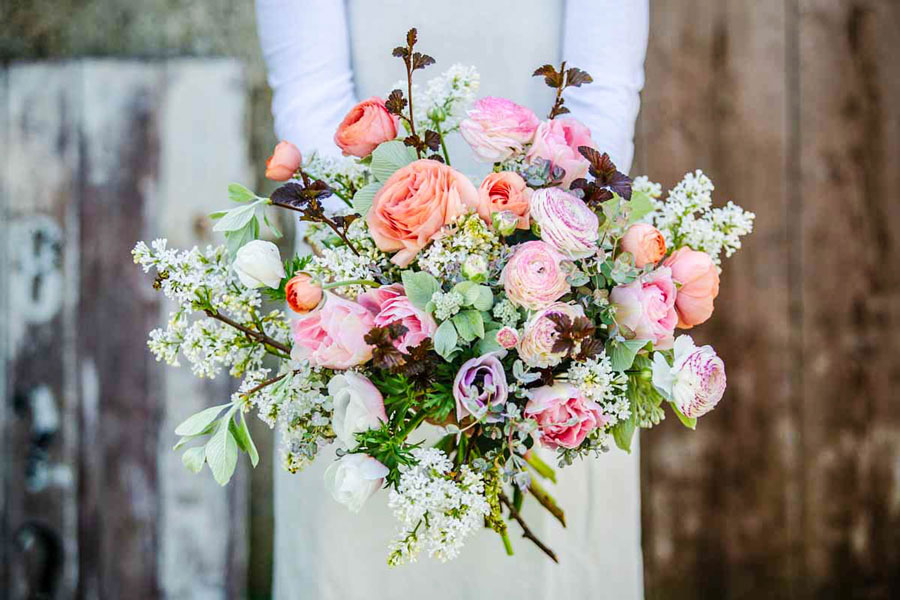 April Wedding Bouquet, grown by Green and Gorgeous in Oxfordshire