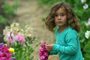 Small child picking stocks
