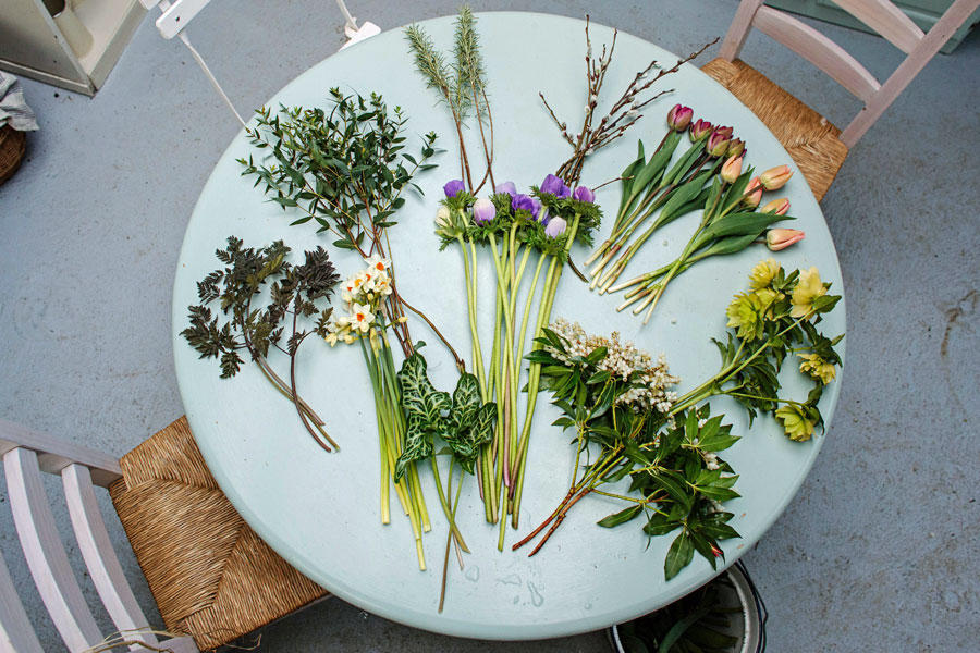 Bouquet ingredients on table, grown in England by Green and Gorgeous