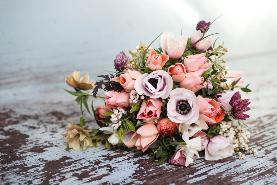 Spring bouquet with tulips, anemones, Ranunculus