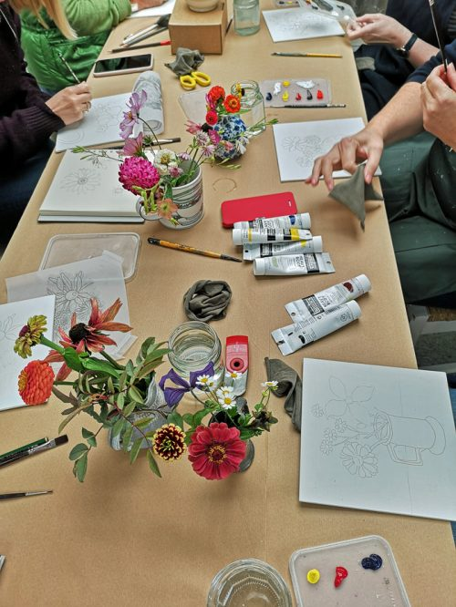 Flower miniatures on gesso