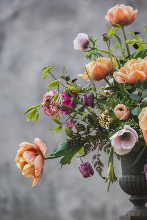 tulips arranged in an urn